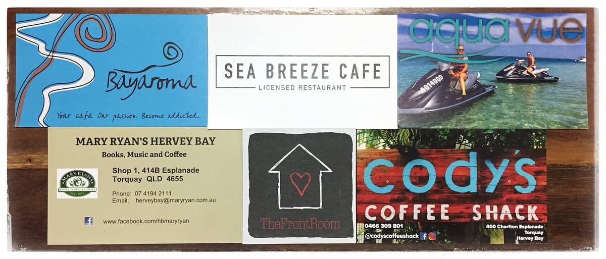 Coffee shop cards from Hervey Bay